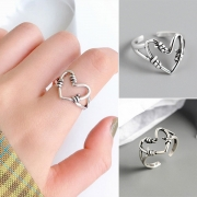 Retro Style Hollow Out Heart Shaped Open Ring