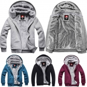 Fashion Solid Color Long Sleeve Hooded Men's Warm Coat