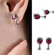 Fashion Red Heart Rhinestone Inlaid Wine Glass Shaped Stud Earrings