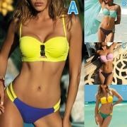 Sexy Contrast Color Low-waist Bandeau Bikini Set