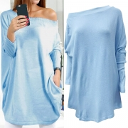 Sexy Solid Color Off Shoulder Long Sleeve Loose-fitting Sweater