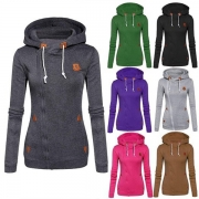 Casual Style Long Sleeve Side Zipper Slim-fitting Hooded Sweatshirt For Women