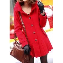 Single Breast Elegant High-quality Slim Fashion Pleated Hem Wollen Coat