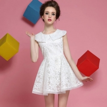 White Floral Embroidery Sleeveless Bodycon Flared Skater Dress