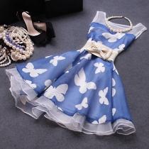 Ladylike Blue Butterfly High Waist Bodycon Tank Dress
