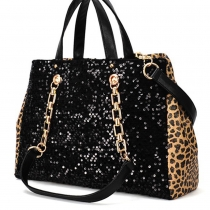 Black Sequins Wild Leopard Print Chain Strap Purse Bag Handbag
