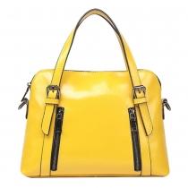 Simple Candy Color Zippered Shoulder Bag Tote Handbag