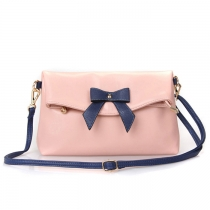 Casual Bowknot Contrast Color Handbag Crossbody Bag