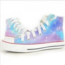 Fashion Hand-drawn Gradient Colour Canvas High Shoes