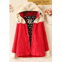 Sweet Lovely Cute Fleece Spliced Cartoon Hooded Mixing Color Warm Coat