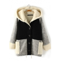 Leisure Stylish Contrast Color Patch Hood Warm Coat