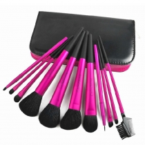 Profession Beautiful Cosmetic Rose Red 11 PCS Makeup Brushes Set with Case Bag