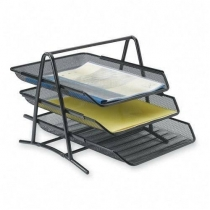3-Tier Steel Mesh Desk Tray, Black