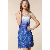 Gradient Color Floral Embroidery Bodycon Mini Tank Dress
