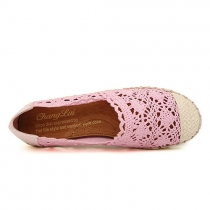 Leisure Cute Sweet Floral Cutout Flat Loafers
