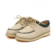 Sweet British Style Retro Rivet Contrast Color Lace-up Shoes