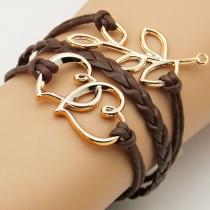 Tree Branch Love Heart Pendants Mocha String Bracelet