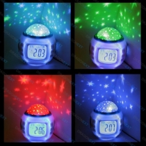Starry Night Projector and Sound Shooter. With 6 Lullabies and 4 Nature Sounds. Large LCD Alarm Clock