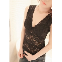 Sexy Floral Semi-sheer Lace Mesh Black White Top Camisole Vest