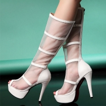 Street-chic Peep Toe Mesh Knee High Stiletto Heel Sandal Boots