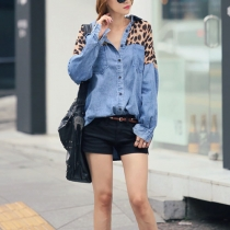 Casual Batwing Sleeve Leopard Print Loose Fit Denim Shirt Blouse