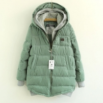 Stylish Chic Contrast Color Spliced Hood Fake Two-pieces Coat