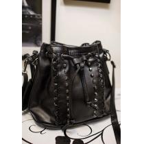 Punk Cool Studded Rivets Drawstring Black Crossbody Bucket Bag Satchel