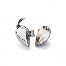 16GB Shiny Crystal Heart Shape USB Flash Drive with Necklace