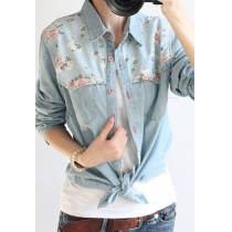 Retro Floral Print Spliced Denim Shirt Blouse