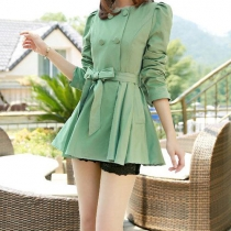 British Style Double Breast Solid Color Bowknot Trench Coat