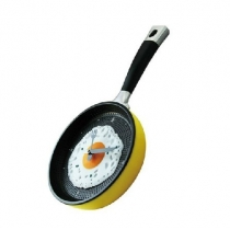 Stylish Creative Wall Clock Fried Eggs Pan Shaped Clock (Color random)