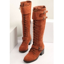 Roman Style Cool Lace-up Strap Buckle Over-the-knee Boots
