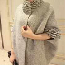 Elegant Solid Color Petal Neckline Oversize Batwing Sleeve Women's Woolen Coat