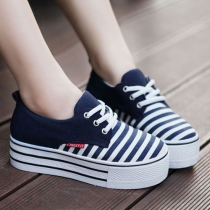 Navy Stripe Contrast Color Platform Canvas Sneaker Slip On Loafers