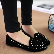 Stylish Point Toe Studded Rivets Slip On Loafer Slipper