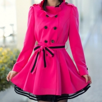 Elegant Charm Stand Collar Lace Spliced Double Breast Slim Trench Coat