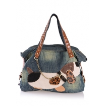 Casual Cute Contrast Color Spliced Cartoon Dag Patch Denim Handbag
