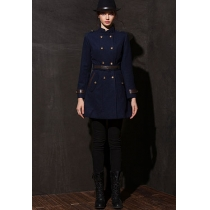 Military Inspired Double Breast Spliced Long Coat