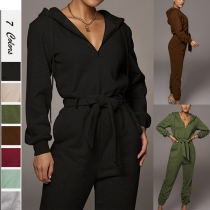 Fashion Solid Color Long Sleeve Hooded Tie-belt High Waist Jumpsuit