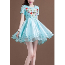 Embroidery Flower Short Sleeve Layered Lace Bodycon Flare Dress