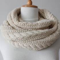 Warm Simple Pure Color Knit Scarf for Lovers