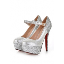 Classy Elegant Contrast Color Sequin Strap Platform High-heeled Shoes