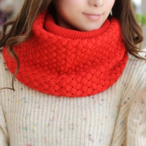 Leisure Sweet Solid Color Open Knit Infinity Scarf