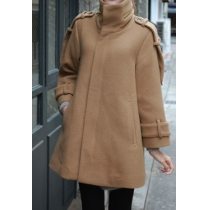 Stylish Solid Color Cloak Stand Collar Shoulder Epaulets Coat