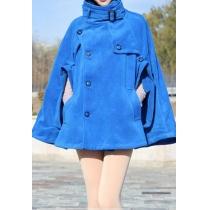 Elegant Batwing Stand Collar Double Breast Tweed Cloak Coat