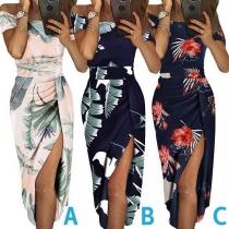 Sexy Off-shoulder Boat Neck Slit Hem Slim Fit Printed Dress