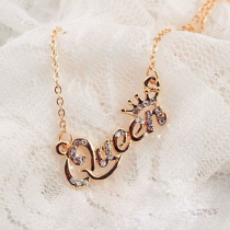Fashion Bling Rhinestone QUEEN Pendant Necklace