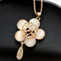 Fashion Rhinestone Opal Camellias Pendant Long Necklace