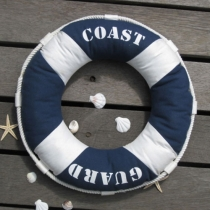 Nautical Inspired Red / Blue Life Buoy Throw Pillow Home Decor