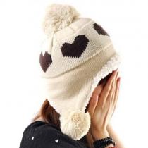 Fashion Heart Pattern Pompoms Warm Knitting Hat